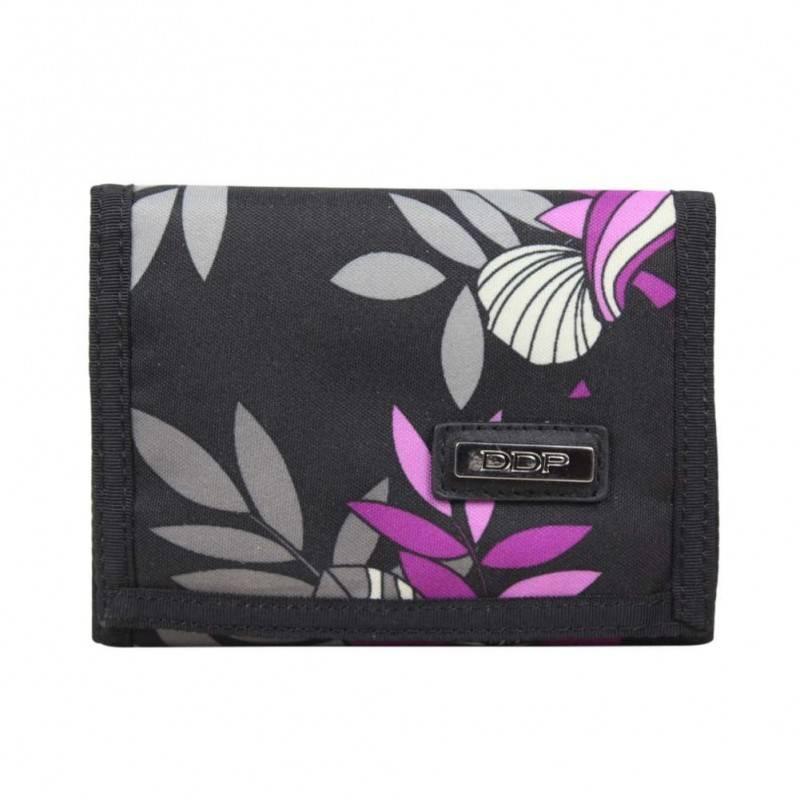 Portefeuille ultra plat toile motif imprimé fleurs violet DDP DDP - 1