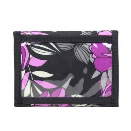 Portefeuille ultra plat toile motif imprimé fleurs violet DDP DDP - 3