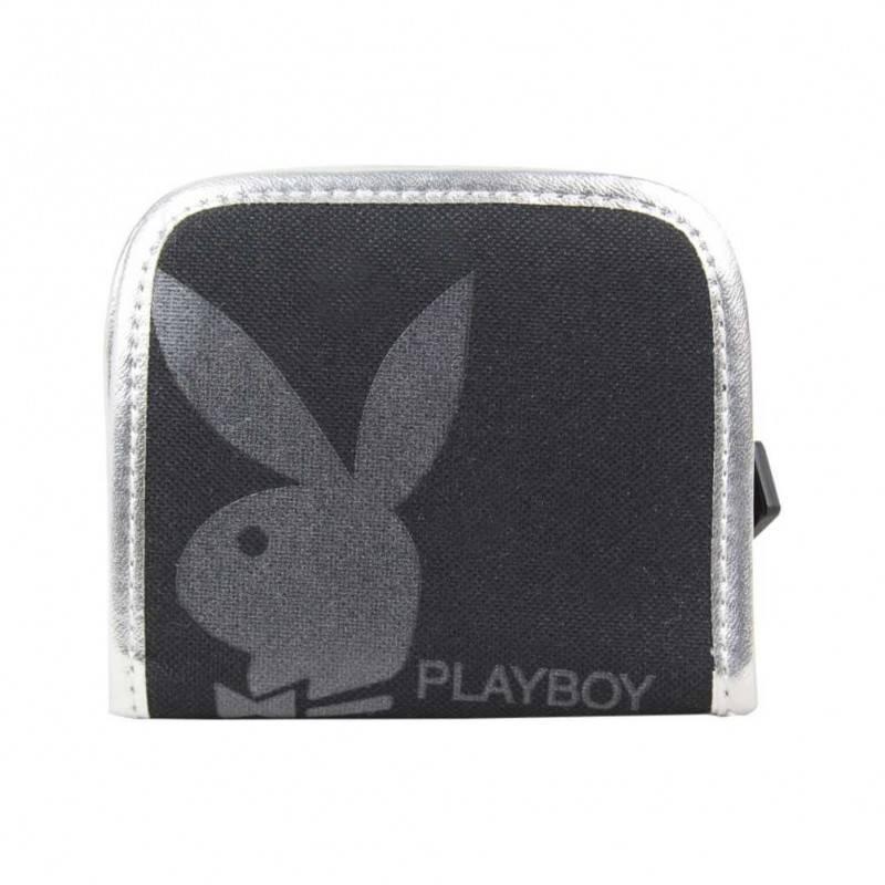 Porte monnaie Playboy toile Noir Argent PLAYBOY - 1