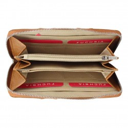 Porte monnaie femme à pièces style perforé Fuchsia F9582-2 FUCHSIA - 2