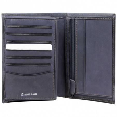 Grand portefeuille en cuir brut Serge Blanco SCU bleu SERGE BLANCO - 2