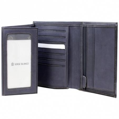 Grand portefeuille en cuir brut Serge Blanco SCU bleu SERGE BLANCO - 3