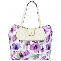 Sac cabas Éternel blanc fleurs violettes Eternel - 1