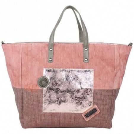 Grand sac cabas Patrick Blanc toile et brillant vieux rose