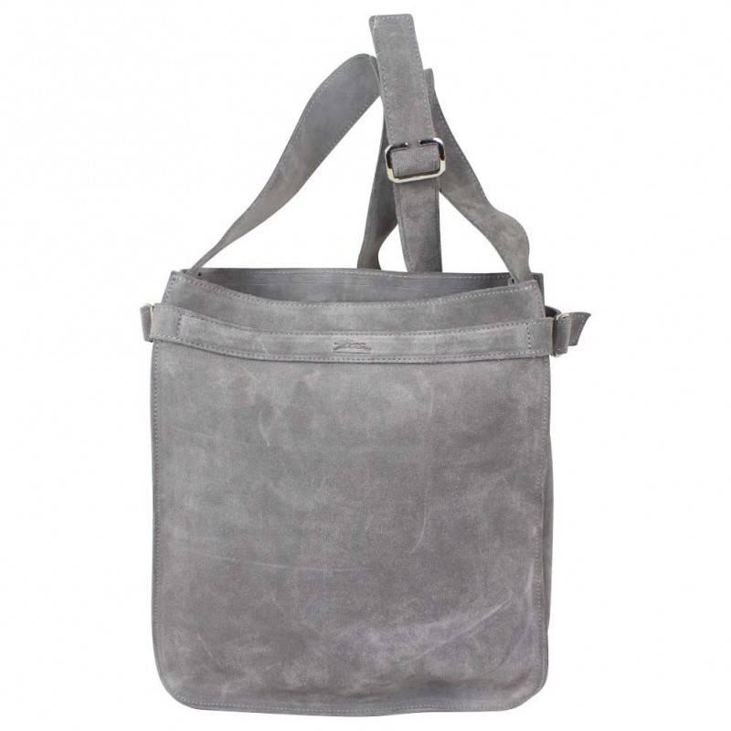Sac épaule Longchamp cuir effet vieilli gris LONGCHAMP - 1
