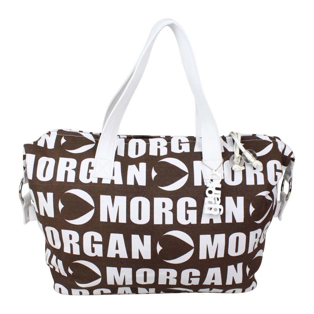 Sac cabas Morgan toile motif marron et blanc MORGAN - 1