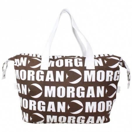 Sac cabas Morgan toile motif marron et blanc MORGAN - 4