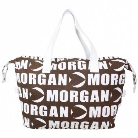 Sac pochette bandoulière ultra plate Morgan toile motif imprimé noir et blanc MORGAN - 4
