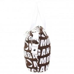 Sac cabas Morgan toile motif marron et blanc MORGAN - 2