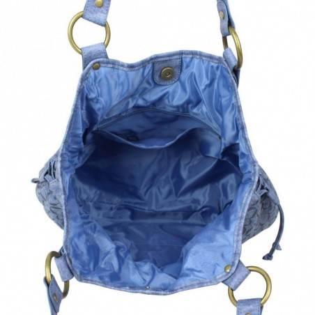 Sac bourse Morgan M toile motif imprimé bleu MORGAN - 3