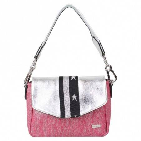Petit sac épaule + bandoulière Patrick Blanc toile rose et argent PATRICK BLANC - 1
