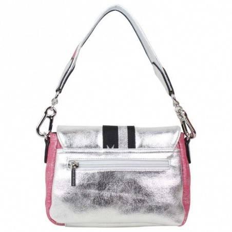 Petit sac épaule + bandoulière Patrick Blanc toile rose et argent PATRICK BLANC - 5