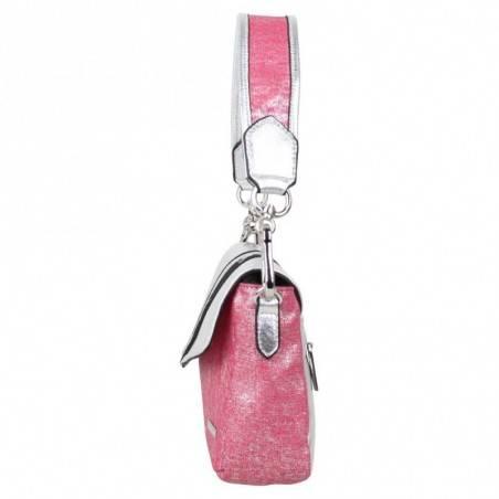 Petit sac épaule Patrick Blanc toile rose et argent PATRICK BLANC - 3