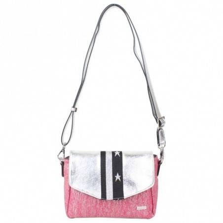 Petit sac épaule + bandoulière Patrick Blanc toile rose et argent PATRICK BLANC - 2