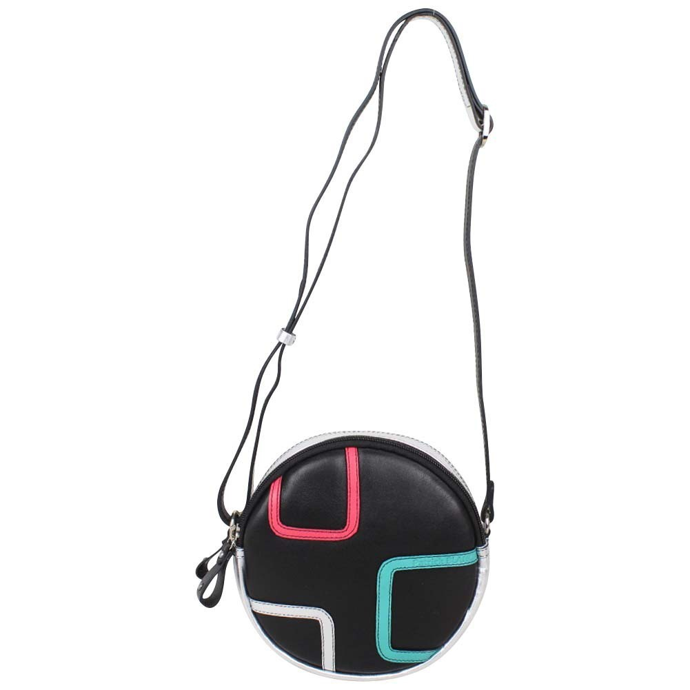 Petit sac rond bandoulière cuir Patrick Blanc noir argent PATRICK BLANC - 1