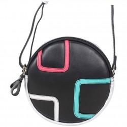 Petit sac rond bandoulière cuir Patrick Blanc noir argent PATRICK BLANC - 2