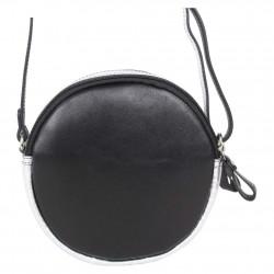 Petit sac rond bandoulière cuir Patrick Blanc noir argent PATRICK BLANC - 4