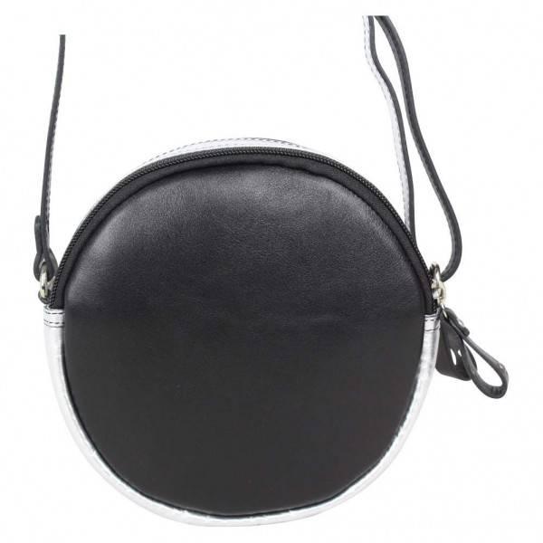 a78c5647e2 Petit sac rond bandoulière cuir Patrick Blanc noir argent - Nouvelty.com