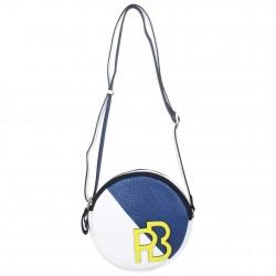 Petit sac rond bandoulière cuir Patrick Blanc et bleu PATRICK BLANC - 1
