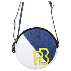 Petit sac rond bandoulière cuir Patrick Blanc et bleu PATRICK BLANC - 4
