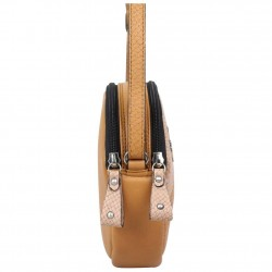 Petit sac rond cuir Patrick Blanc camel effet lézard PATRICK BLANC - 3