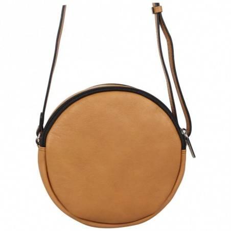 Petit sac rond bandoulière cuir Patrick Blanc marron camel PATRICK BLANC - 3