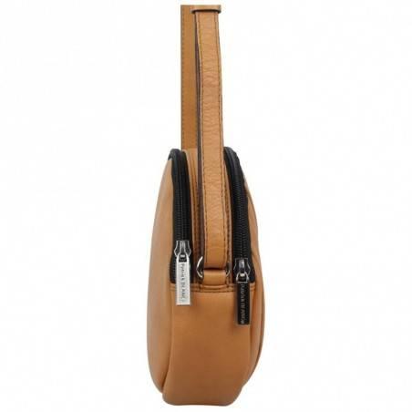 Petit sac rond bandoulière cuir Patrick Blanc marron camel PATRICK BLANC - 4