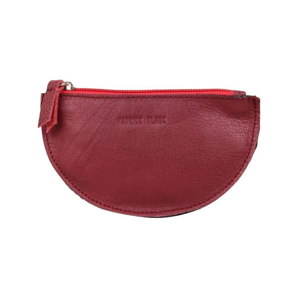 Porte monnaie demi rond plat Patrick Blanc cuir noir / rouge PATRICK BLANC - 1