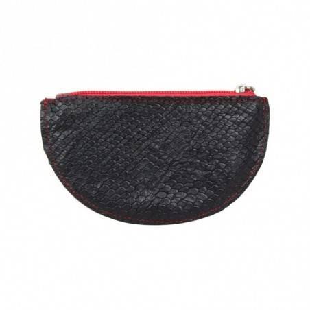 Porte monnaie demi rond plat Patrick Blanc cuir noir / rouge PATRICK BLANC - 2