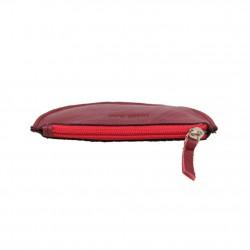Porte monnaie demi rond plat Patrick Blanc cuir noir / rouge PATRICK BLANC - 3
