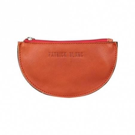 Porte monnaie demi rond plat Patrick Blanc cuir noir / orange PATRICK BLANC - 1