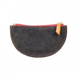 Porte monnaie demi rond plat Patrick Blanc cuir noir / orange PATRICK BLANC - 2