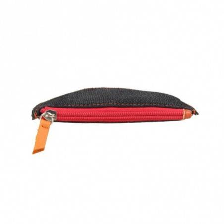 Porte monnaie demi rond plat Patrick Blanc cuir noir / orange PATRICK BLANC - 3