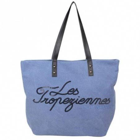 Sac cabas logo Les Tropéziennes toile effet délavée bleue LES TROPÉZIENNES  - 1