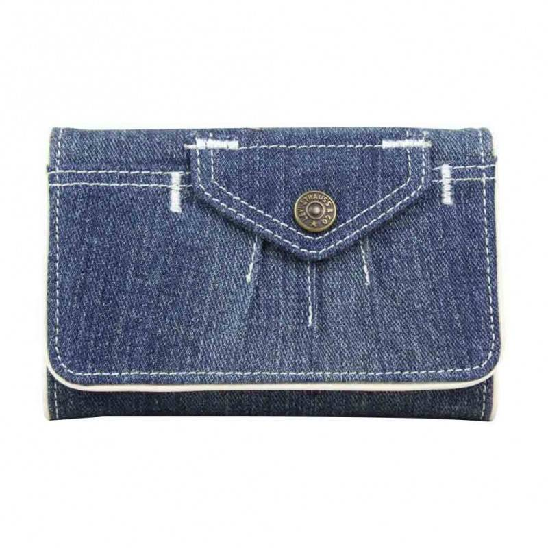 Porte monnaie toile forme poche Levi's Bleu jean blanc