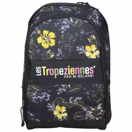 Sac à dos Tropéziennes motif fleur 2 poches Wissant Noir LES TROPÉZIENNES  - 1