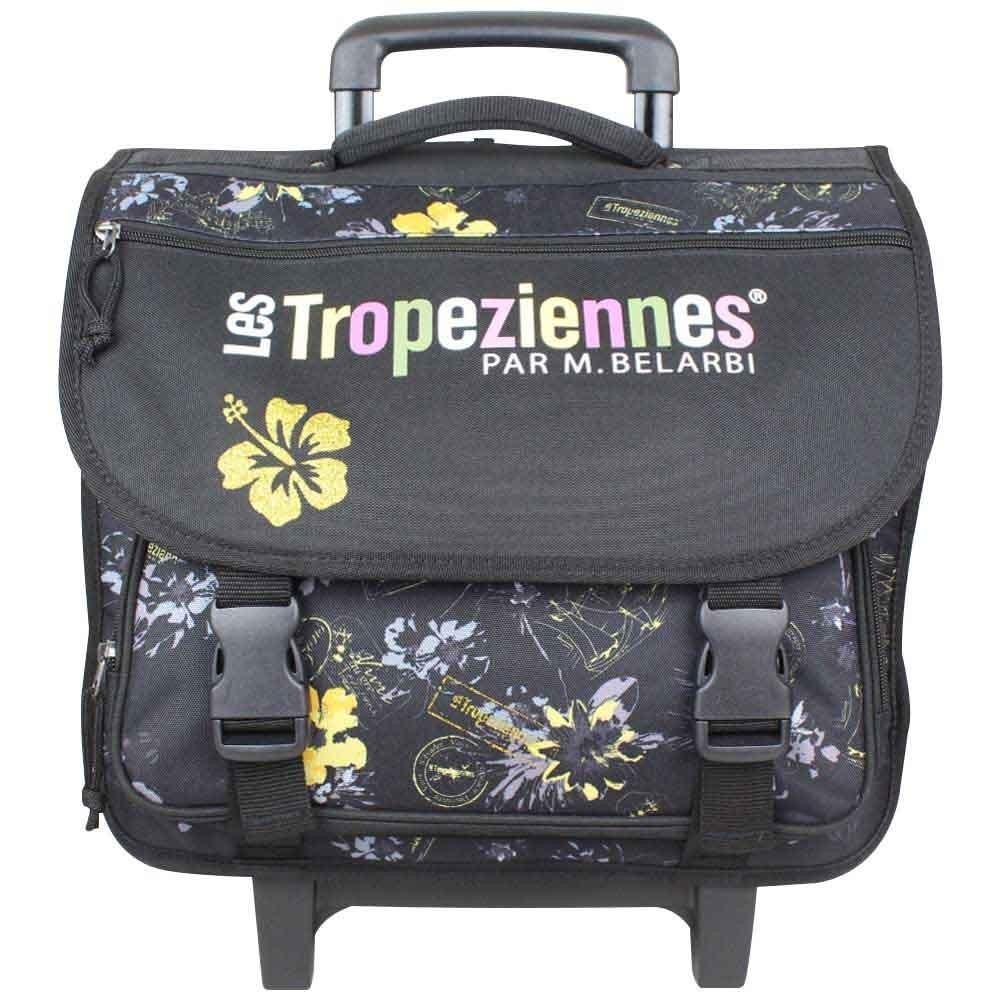 Cartable à roues Tropéziennes 40cm motif fleur Wissant Noir LES TROPÉZIENNES  - 1