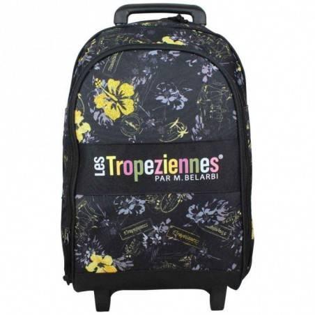 Sac à dos à roues Les Tropéziennes motif fleur Wissant Noir LES TROPÉZIENNES  - 1