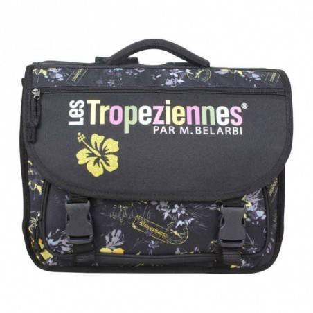 Cartable Tropéziennes 40cm motif fleur Wissant Noir LES TROPÉZIENNES  - 1