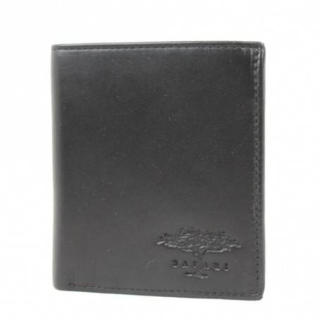 Porte monnaie et carte en cuir lisse Safari noir