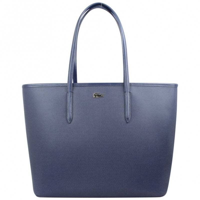 Cuir Bleu Sac Bag Refente Cabas Shopping Lacoste Marine Rigide qx7tHx