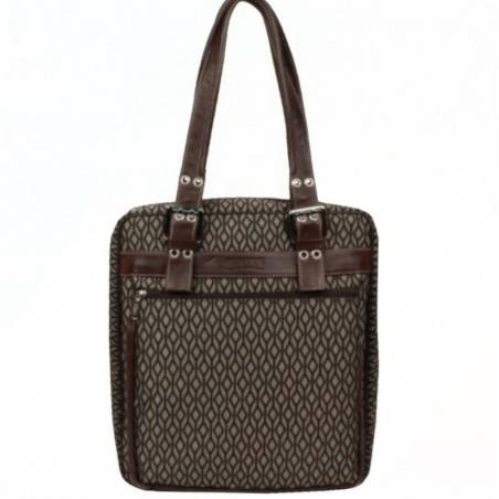 Sac cabas motif toile et cuir Texier 5501 marron TEXIER - 1