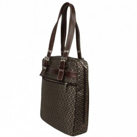 Sac cabas motif toile et cuir Texier 5501 marron TEXIER - 3