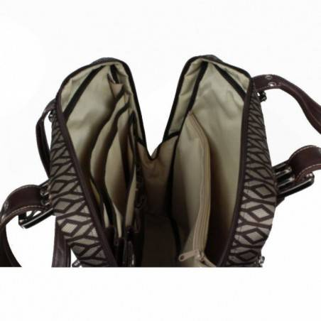Sac cabas motif toile et cuir Texier 5501 marron TEXIER - 2