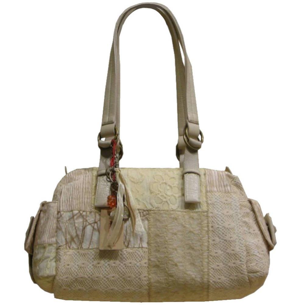Sac épaule femme patchwork dentelle et textile 6527 NAJOLEARI - 1