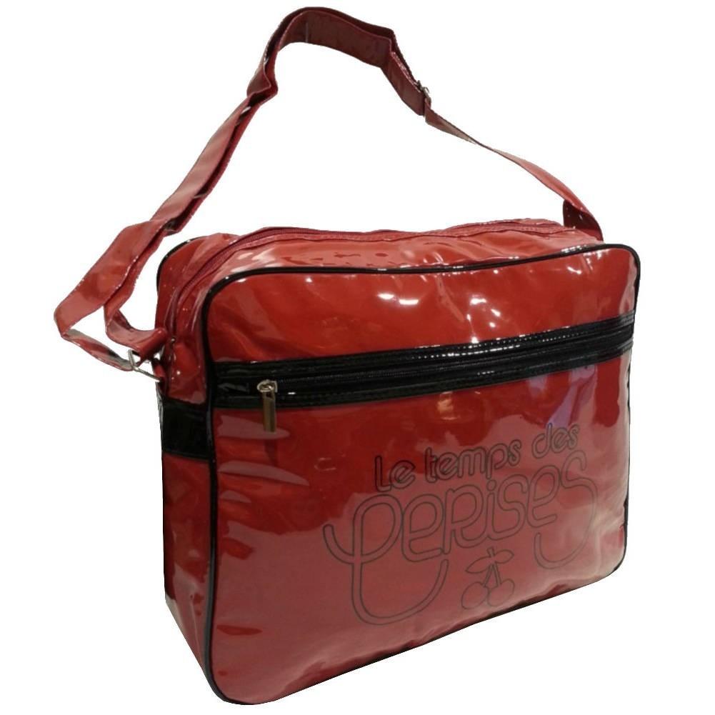 Grand sac gibecière vernis le temps des cerises rumba 1 ltc476l4r00 rouge carmin noir LE TEMPS DES CERISES - 1