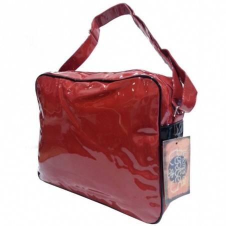 Grand sac gibecière vernis le temps des cerises rumba 1 ltc476l4r00 rouge carmin noir LE TEMPS DES CERISES - 2