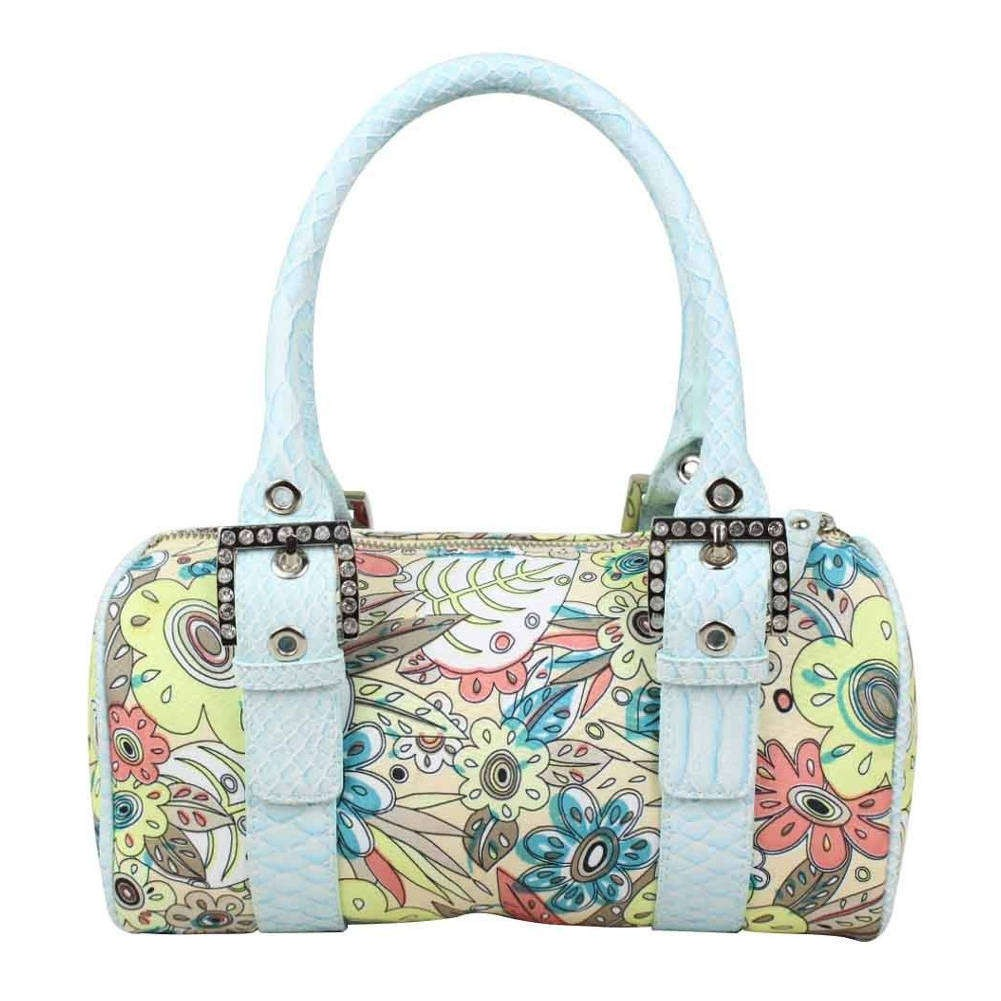 Petit sac à main bowling toile motif fleurs multicolore Fuchsia FUCHSIA - 1