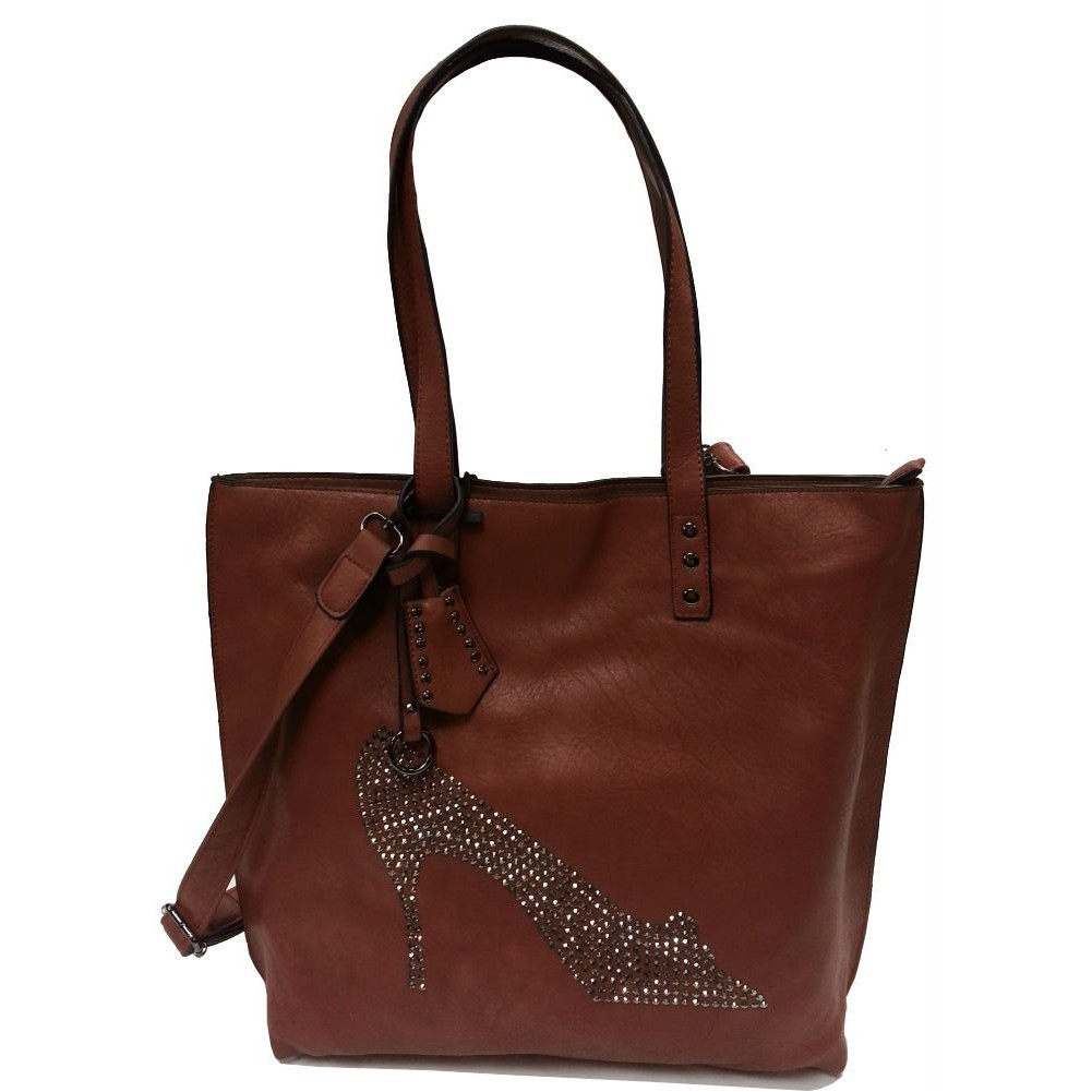 Sac cabas vieux rose strass chaussure Eternel - 1