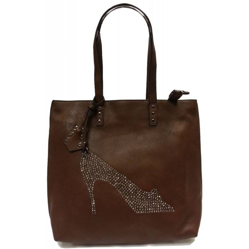 Sac à main cabas marron café strass chaussure Eternel - 1